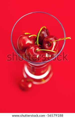 glass of cherry  on a red background