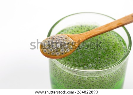 Glass of chia seeds soaking in water isolated on white - stock photo