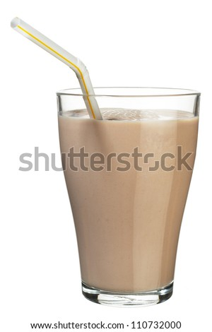 Glass of Chocolate Milk - stock photo