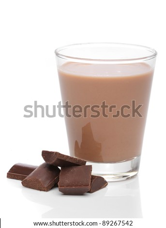 Glass of chocolate milk with broken chocolate bars - stock photo