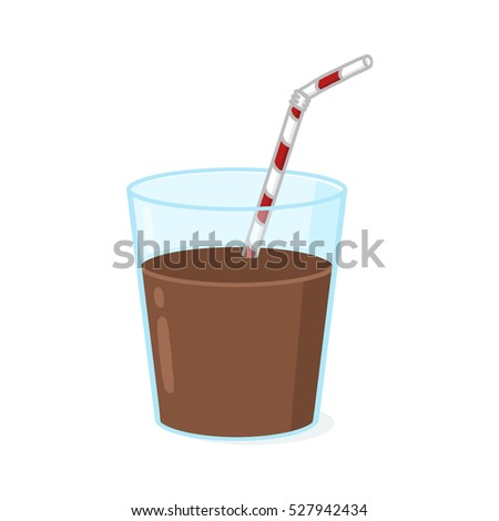 Glass of chocolate milk with straw illustration