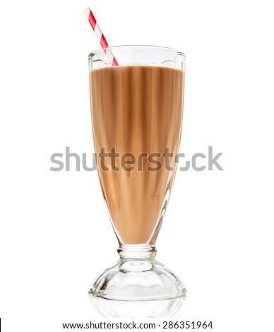 Glass of chocolate milkshake isolated on white background - stock photo