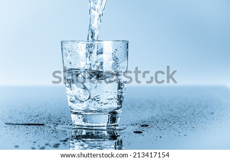 glass of clean drinking water - stock photo