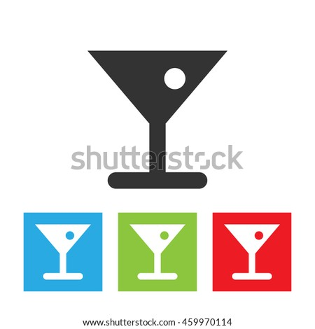 Glass of cocktail icon. Alcoholic beverage in glass with olive. Flat illustration.