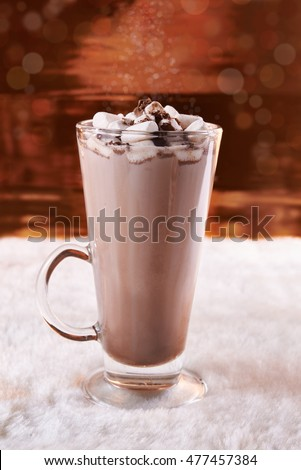 glass of cocoa with marshmallow topping