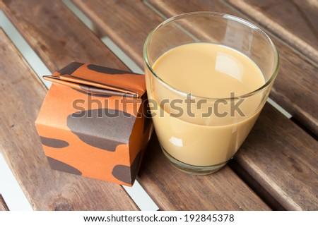 glass of coffee milk - stock photo