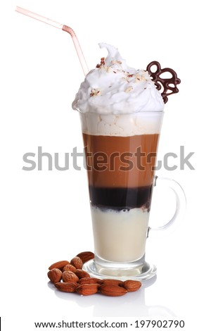 Glass of coffee  with cream and chocolate, isolated on white - stock photo