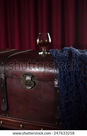 Glass of cognac - stock photo