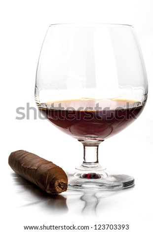 Glass of cognac and cigar
