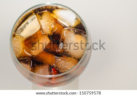 Glass of coke shot from a high angle viewpoint