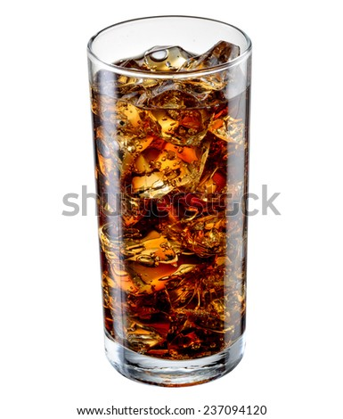 Glass of cola with ice cubes isolated on white. With clipping path - stock photo