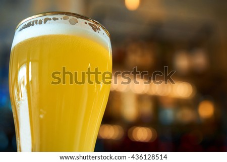 glass of cold beer in the pub