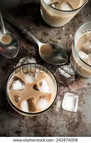 Glass of cold black coffee, still life image - stock photo