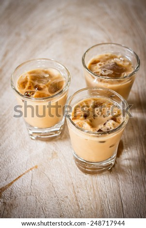 Glass of Cold Iced Coffee put on old white wooden - stock photo