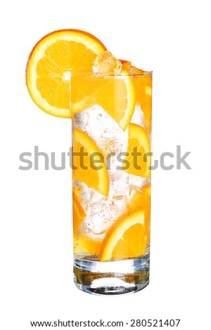 Glass Of Cold orange cocktail  with ice isolated on white background