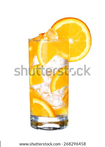 Glass Of Cold orange Drink with ice isolated on white background