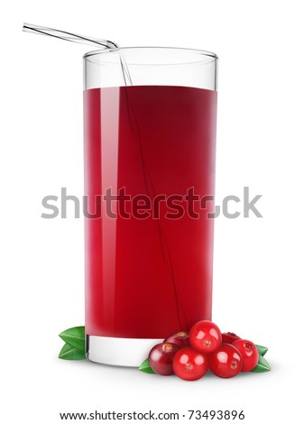 Glass of cranberry juice isolated on white - stock photo