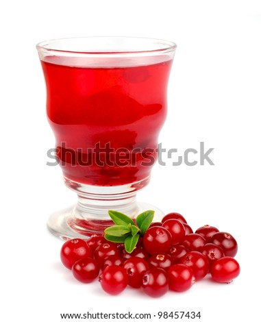 Glass of cranberry juice on white - stock photo