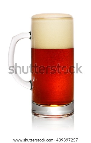 Glass of dark beer isolated on white background with clipping path
