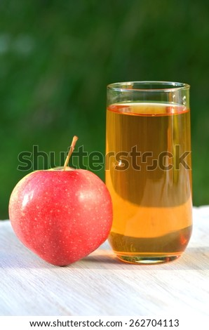 glass of delicious apple juice and apple on table in garden