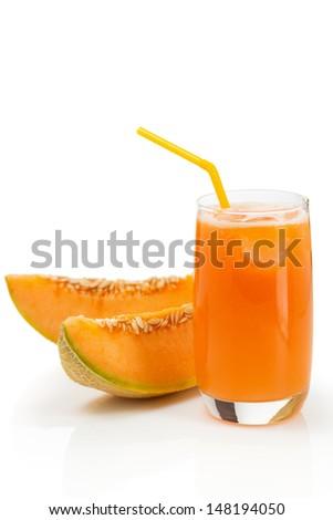 Glass of delicious melon juice - stock photo