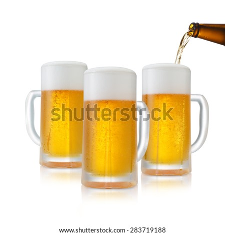 Glass of Fresh Beer with Foam and Bubbles on white  - stock photo