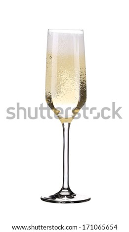 Glass of fresh champagne. Isolated on a white background