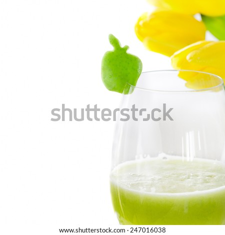 Glass of fresh green apple juice. Isolated on white - stock photo