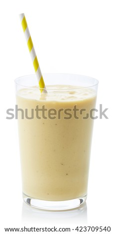 Glass of fresh healthy banana smoothie isolated on white background - stock photo