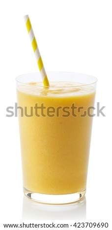 Glass of fresh healthy mango smoothie isolated on white background - stock photo
