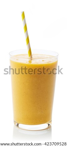 Glass of fresh healthy peach smoothie isolated on white background - stock photo