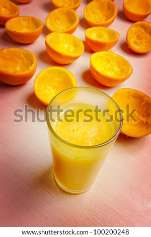 Glass of fresh juice just made of oranges