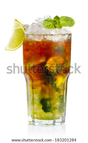 Glass of fresh nonalcoholic cocktail with lime, apple and green mint leaves isolated
