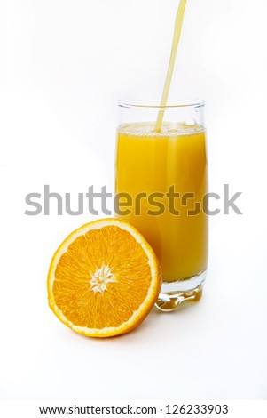 Glass of fresh orange juice isolated on white
