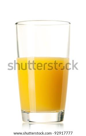 Glass of fresh orange juice on white background - stock photo