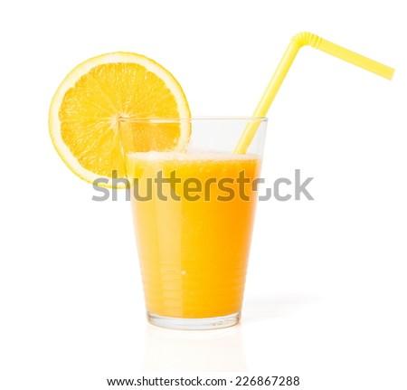 Glass of fresh orange juice with straw - stock photo