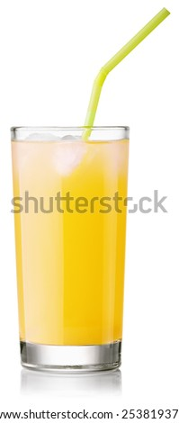 glass of fresh pineapple juice with a straw. Isolated on white with clipping paths