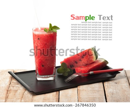 glass of fresh watermelon juice isolated on white - stock photo