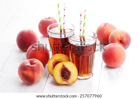 glass of fruit iced tea - food and drink - stock photo