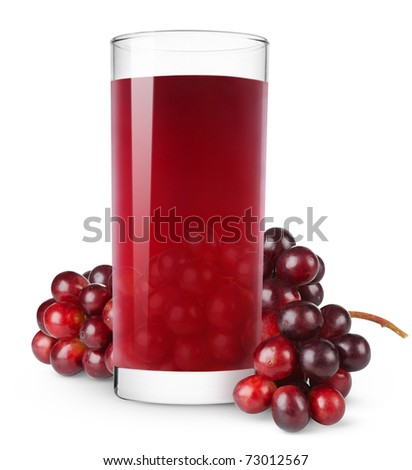 Glass of grape juice isolated on white - stock photo