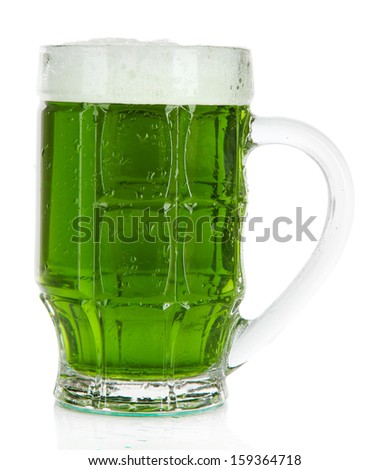 Glass of green beer and hops, isolated on white - stock photo