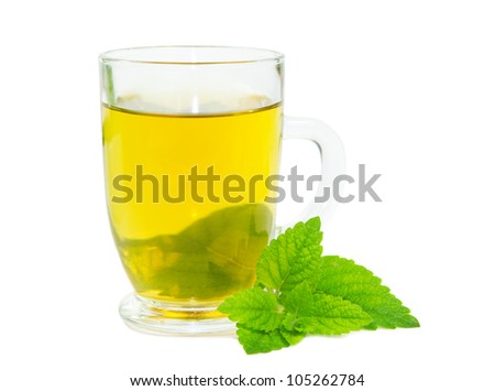 Glass of herbal lemon balm tisane or tea with fresh green leaves on a white studio bacground - stock photo
