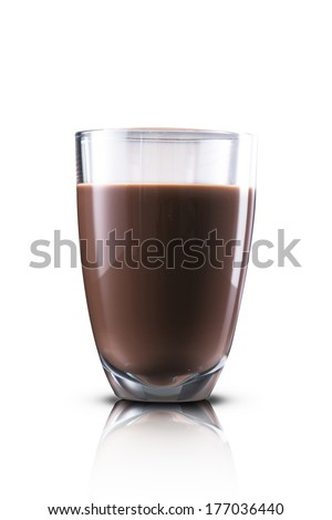 Glass of hot chocolate milk - stock photo