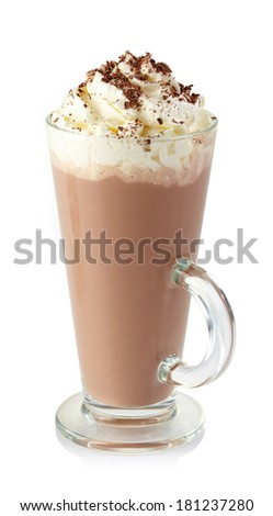 Glass of hot chocolate with whipped cream isolated on white background - stock photo
