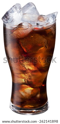 Glass of ice cola on white background. File contains clipping paths.