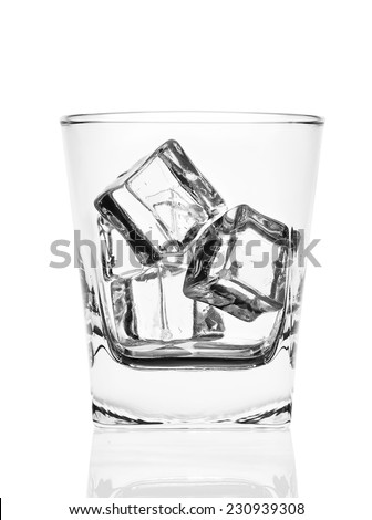 Glass of ice cubes isolated on white background
