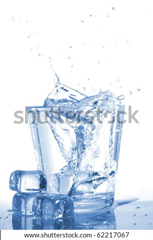 glass of ice water with bubbles on white background