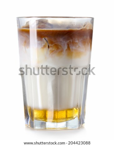 Glass of iced coffee isolated on white background - stock photo