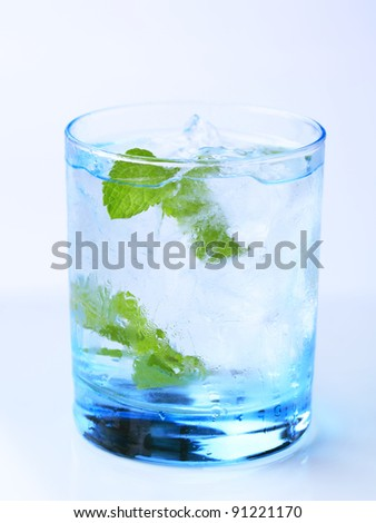 Glass of iced drink with fresh mint - stock photo