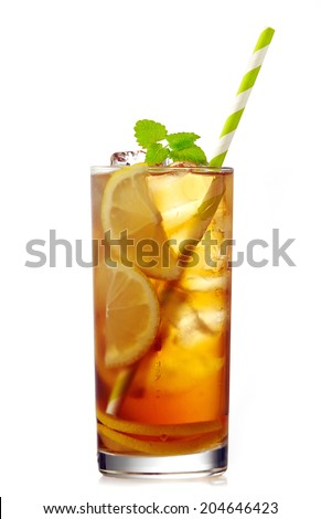 glass of iced lemon tea with dew isolated on a white background
